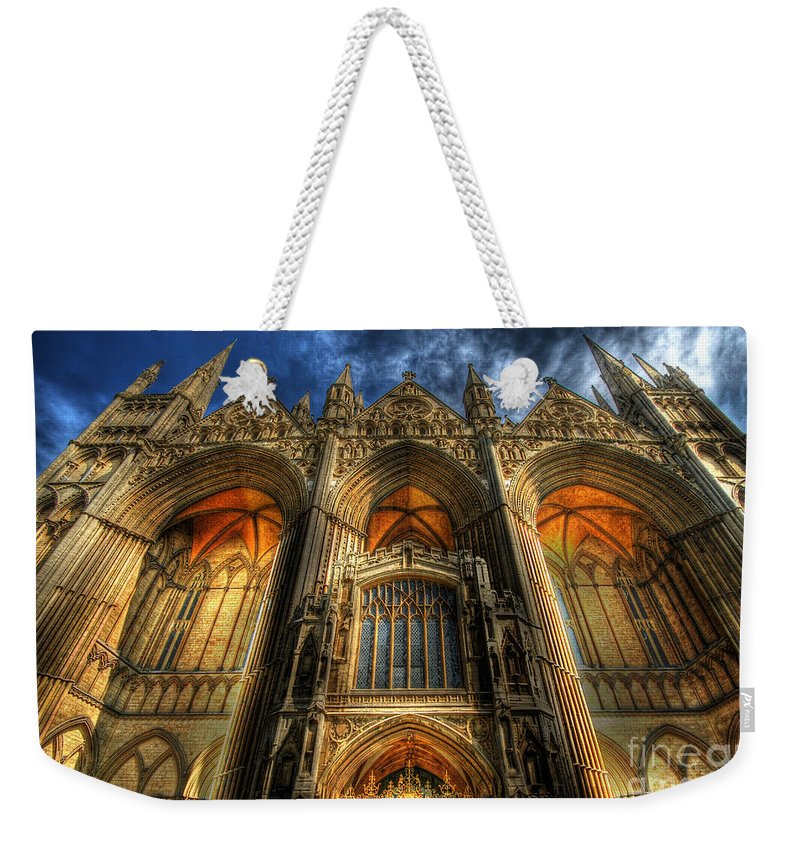 Yhun Suarez Weekender Tote Bag featuring the photograph Peterborough Cathedral by Yhun Suarez