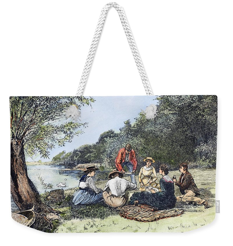 1885 Weekender Tote Bag featuring the photograph Picnic, 1885 by Granger