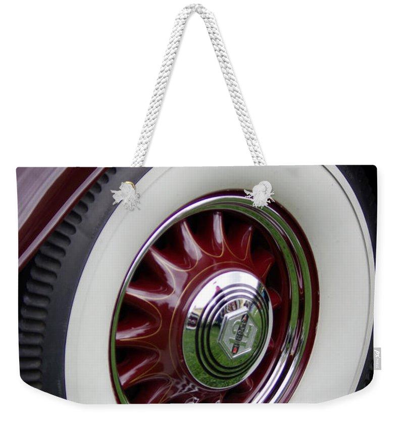 Pierce Arrow Weekender Tote Bag featuring the photograph Pierce Arrow Wheel by Jim And Emily Bush