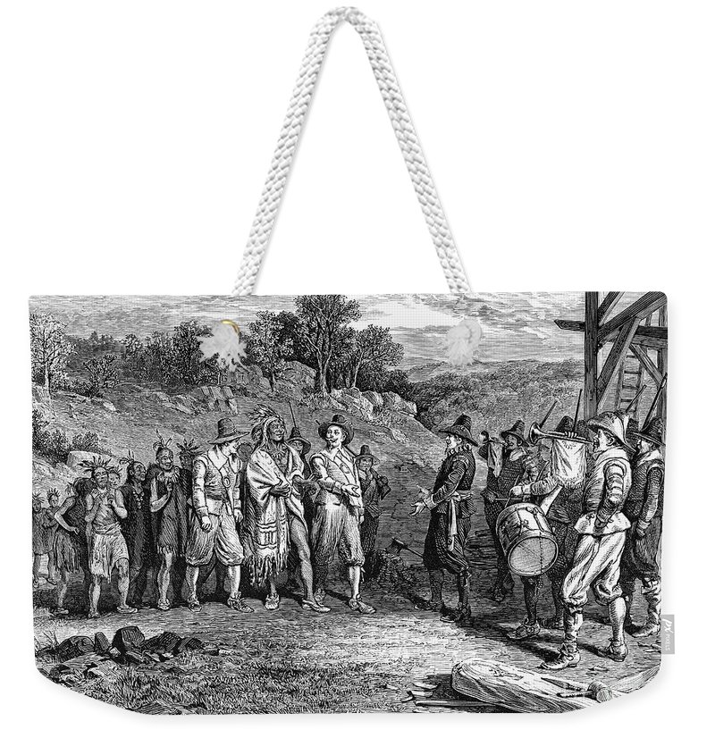 17th Century Weekender Tote Bag featuring the photograph Pilgrims: Massasoit by Granger