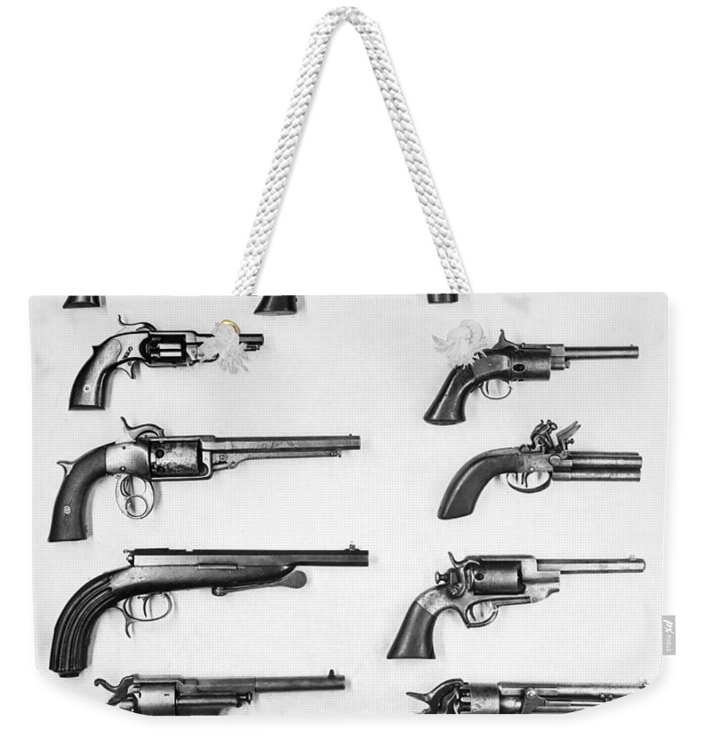 18th Century Weekender Tote Bag featuring the photograph Pistols And Revolvers by Granger