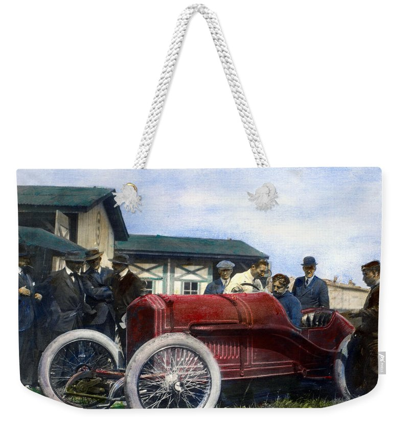 1914 Weekender Tote Bag featuring the photograph Race Car, 1914 by Granger
