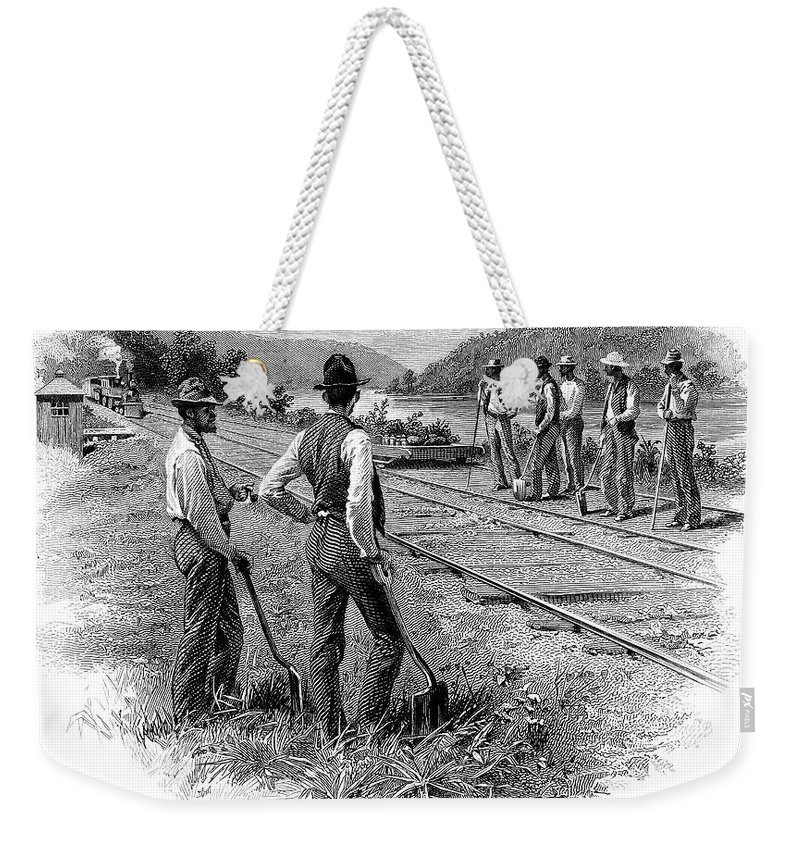 1870 Weekender Tote Bag featuring the photograph Railroad Construction by Granger