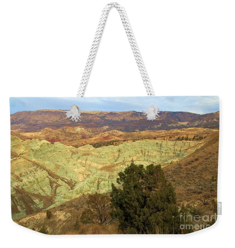 John Day Fossil Beds National Monument Weekender Tote Bag featuring the photograph Rainbow Canyon by Adam Jewell