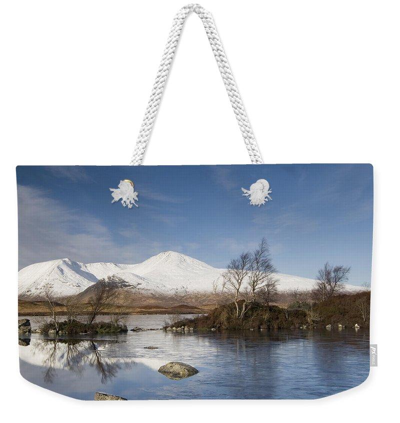 Scotland Weekender Tote Bag featuring the digital art Rannoch Moor - Winter by Pat Speirs