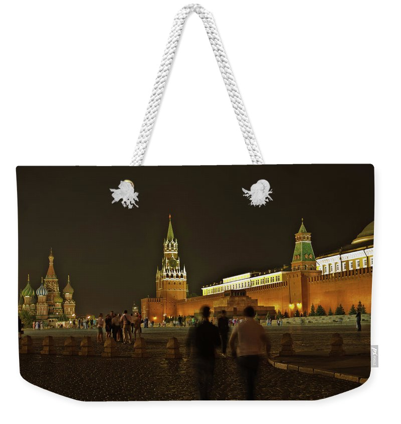 Kremlin Weekender Tote Bag featuring the photograph Red Square In Moscow At Night by Michael Goyberg