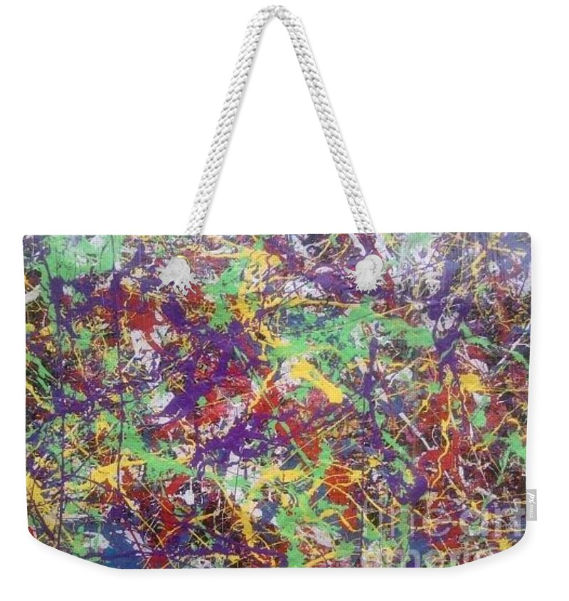 Weekender Tote Bag featuring the painting Resurrection 2000 by Meroe Rei