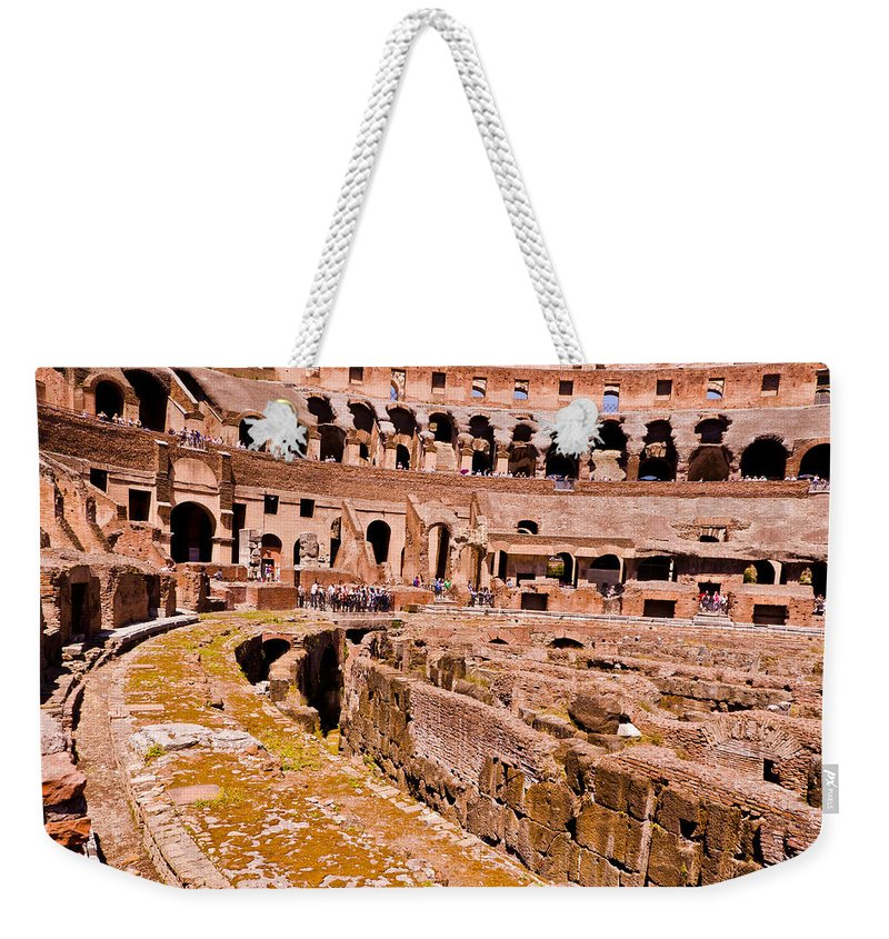 Rome Weekender Tote Bag featuring the photograph Roman Coliseum by Jon Berghoff