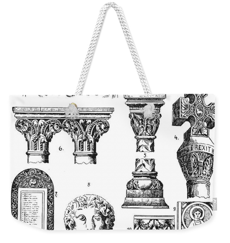 Ancient Weekender Tote Bag featuring the photograph Romanesque Ornament by Granger