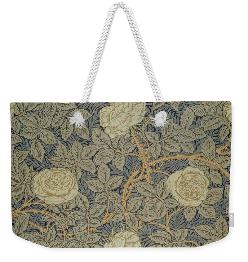 Arts Weekender Tote Bag featuring the tapestry - textile Rose by William Morris