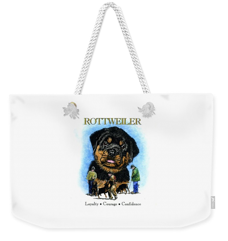 Rottweiler Weekender Tote Bag featuring the painting Rottweiler by Patrice Clarkson
