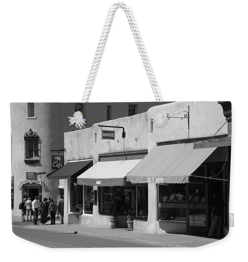 Adobe Weekender Tote Bag featuring the photograph Santa Fe Shops by Frank Romeo