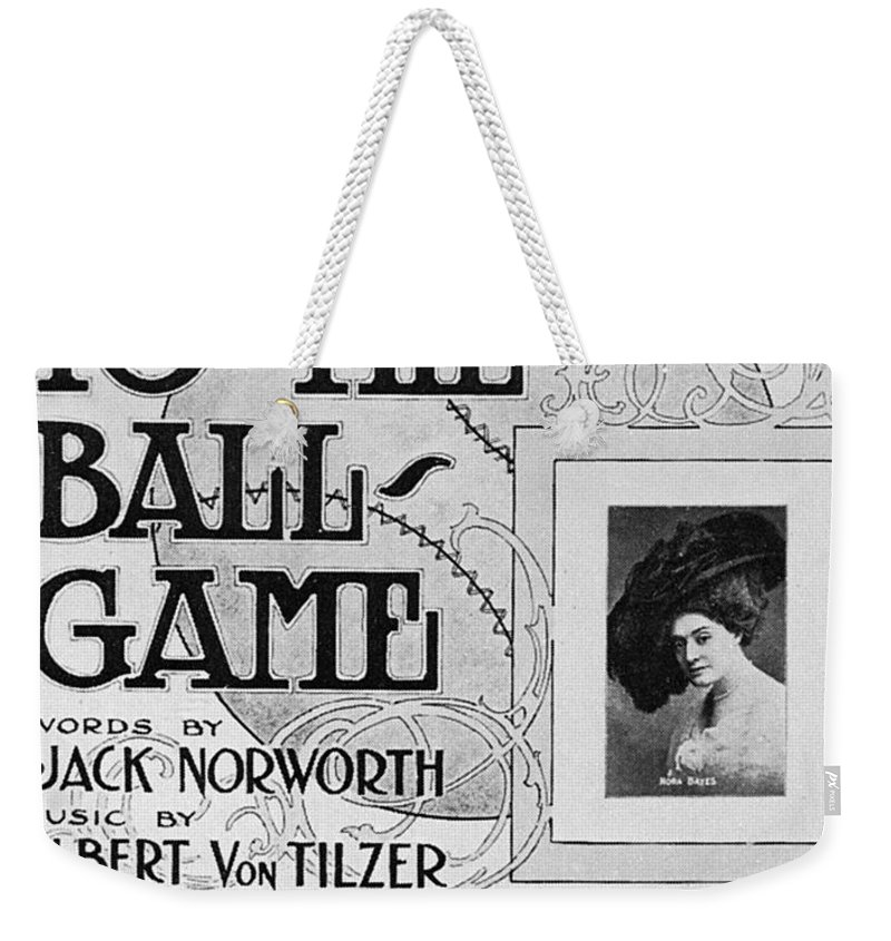 1908 Weekender Tote Bag featuring the photograph Sheet Music: Take Me Out by Granger