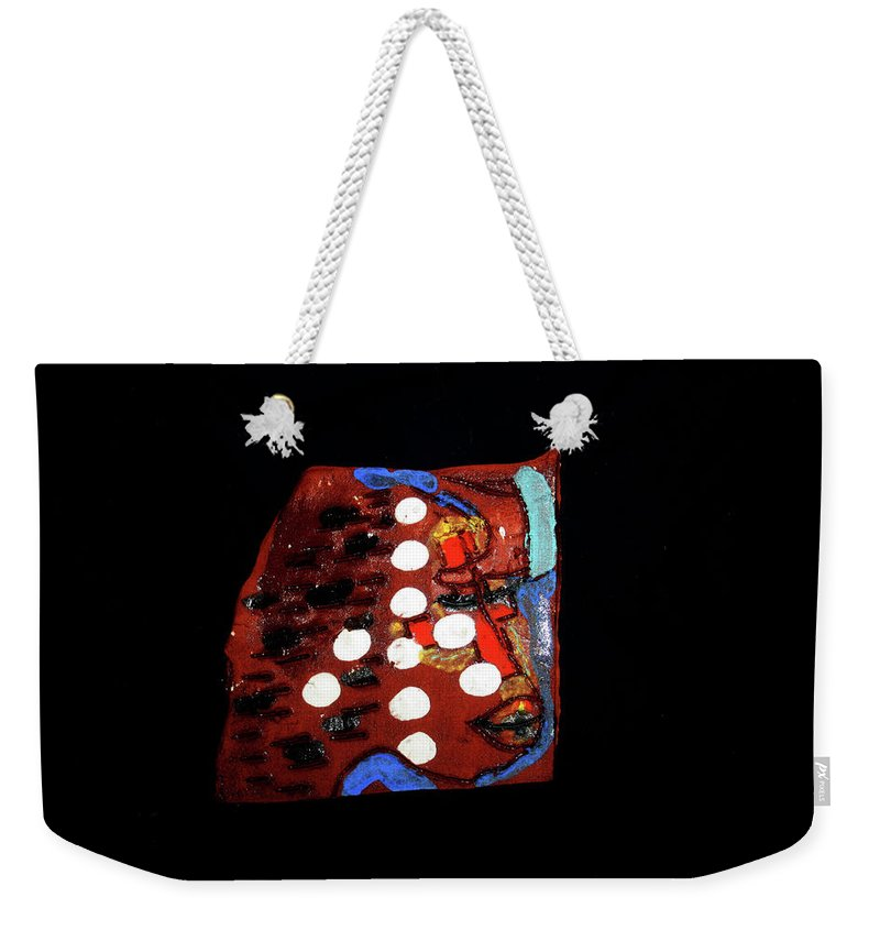 Godly Weekender Tote Bag featuring the ceramic art Sign by Gloria Ssali