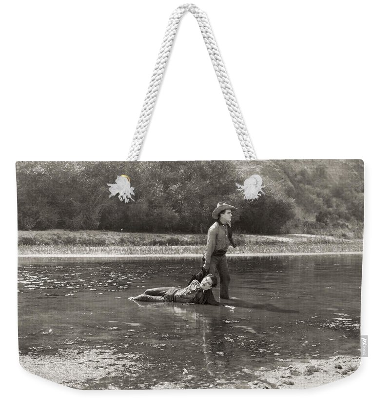 -cowboys- Weekender Tote Bag featuring the photograph Silent Film Still: Cowboys by Granger