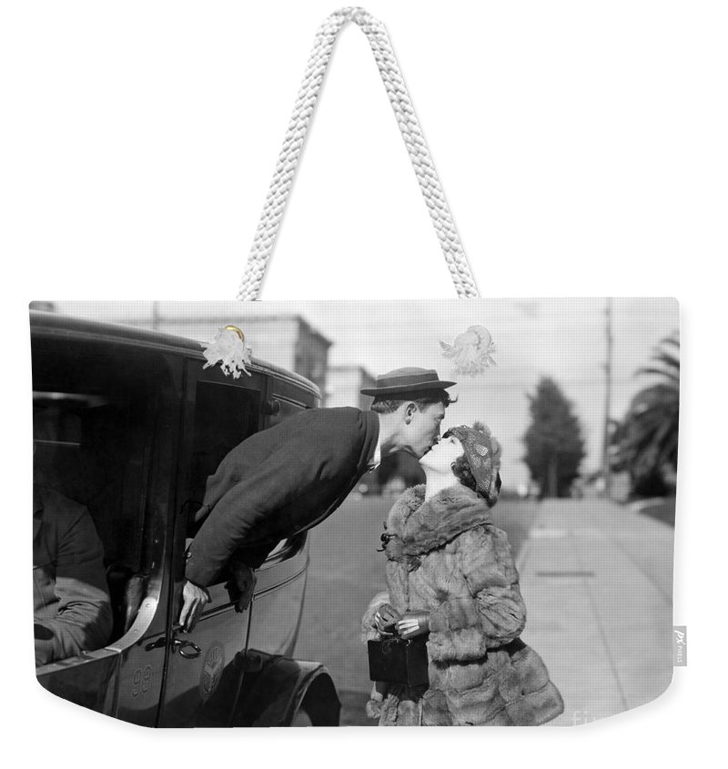 1921 Weekender Tote Bag featuring the photograph Silent Film Still: Kissing by Granger