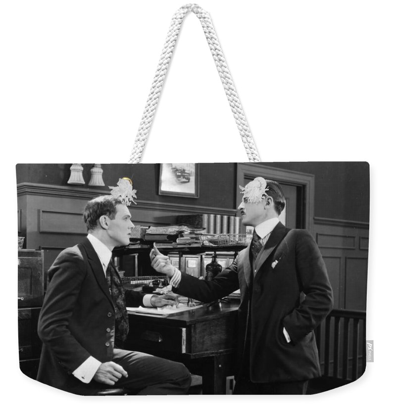 -offices- Weekender Tote Bag featuring the photograph Silent Film Still: Offices by Granger