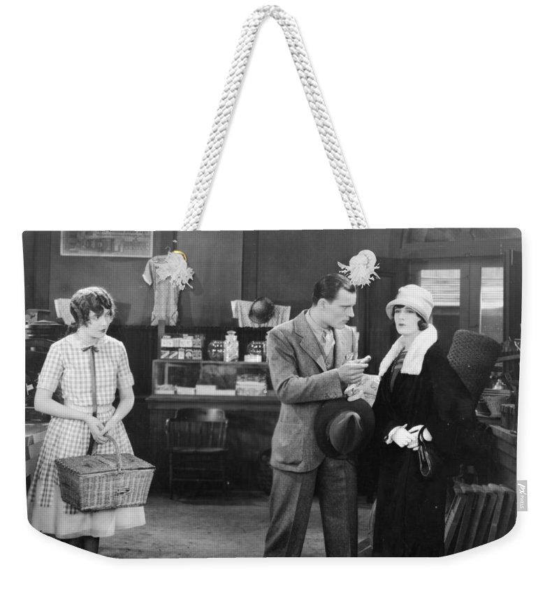 -stores- Weekender Tote Bag featuring the photograph Silent Film Still: Stores by Granger