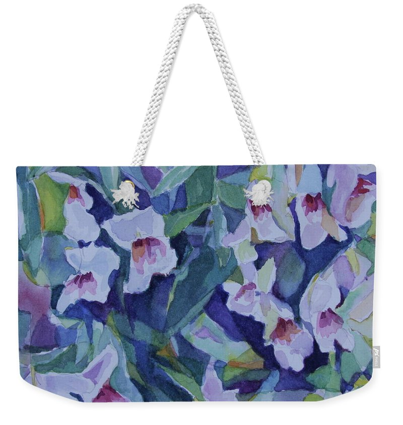 Watercolor Weekender Tote Bag featuring the painting Snap Dragons by Jan Bennicoff