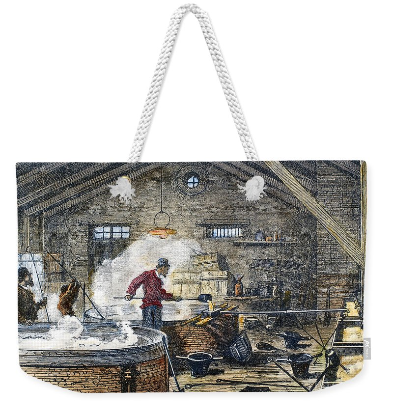 1870 Weekender Tote Bag featuring the photograph Soap Manufacture, C1870 by Granger