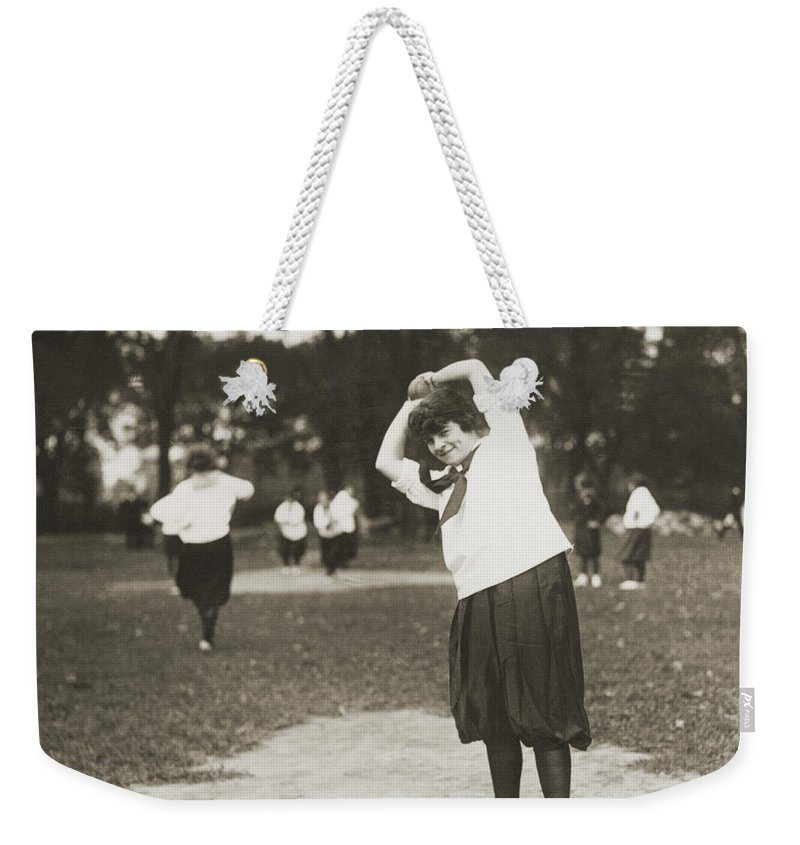 1930 Weekender Tote Bag featuring the photograph Softball Game by Granger