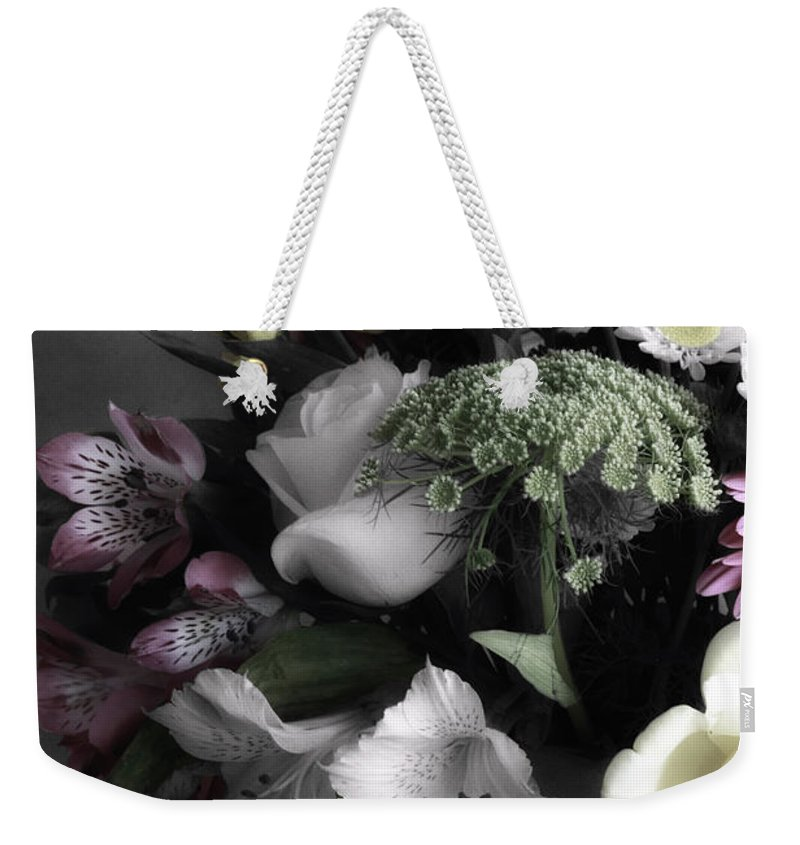 Digitally Hand Colored Weekender Tote Bag featuring the photograph Spring Bouquet by Linda Dunn