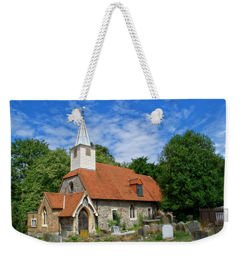 St Laurence Church Weekender Tote Bag featuring the photograph St Laurence Church Cowley Middlesex by Chris Day