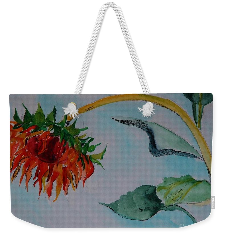Sunflower Weekender Tote Bag featuring the painting Sunflower by Melinda Etzold