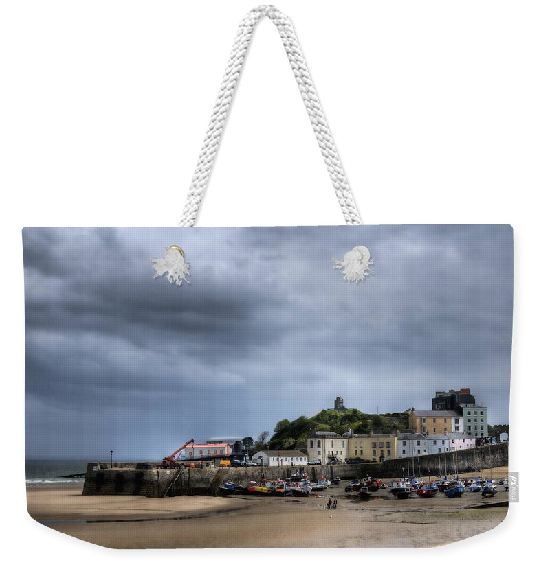 Tenby Pembrokeshire Weekender Tote Bag featuring the photograph Tenby Harbour From North Beach 2 by Steve Purnell