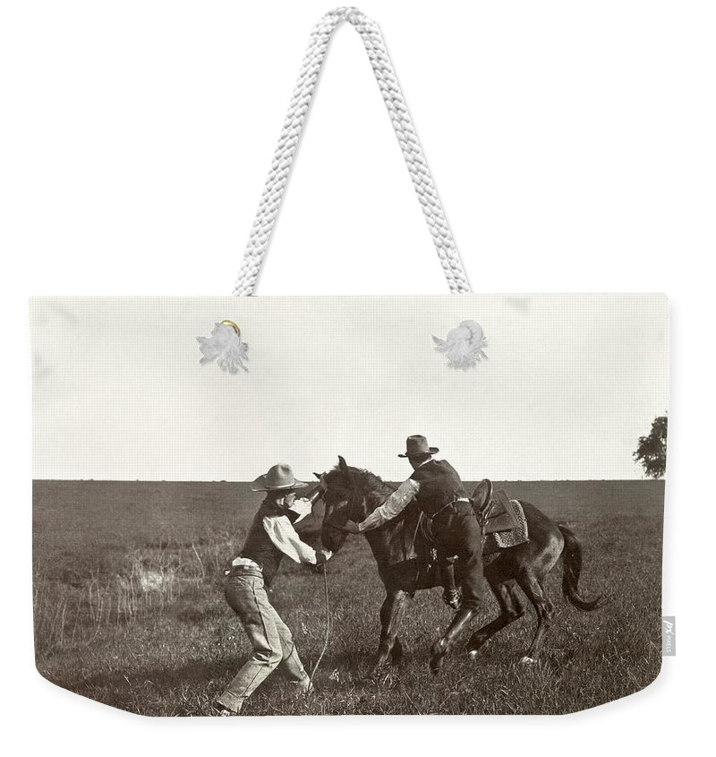 1908 Weekender Tote Bag featuring the photograph Texas: Cowboys, C1908 by Granger