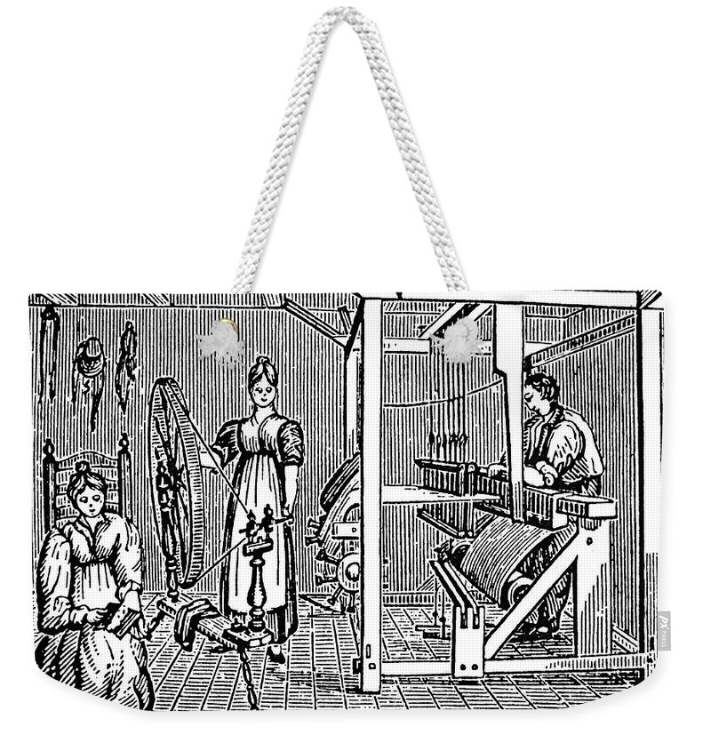 18th Century Weekender Tote Bag featuring the photograph Textile Manufacture by Granger
