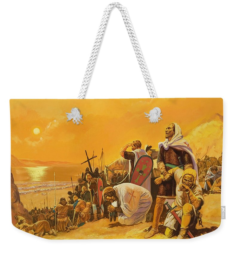 Orange; Soldier; Middle East; Heat; Sun; Cross; Christianity; Christendom; Suffering; Exhaustion; Water; Land; Desert; Shield; Armour; C11th; Croisades; Holy War; Arid; Parched; Harsh Conditions; Male; Children's Illustration Weekender Tote Bag featuring the painting The Crusades by Gerry Embleton