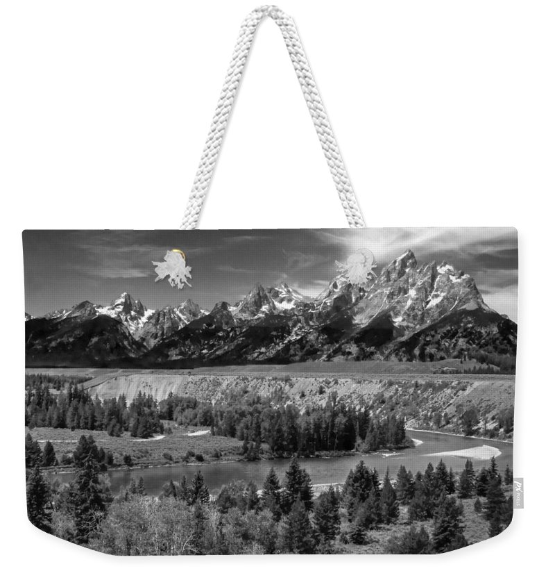 Weekender Tote Bag featuring the photograph The Grand Tetons And The Snake River by Ken Smith