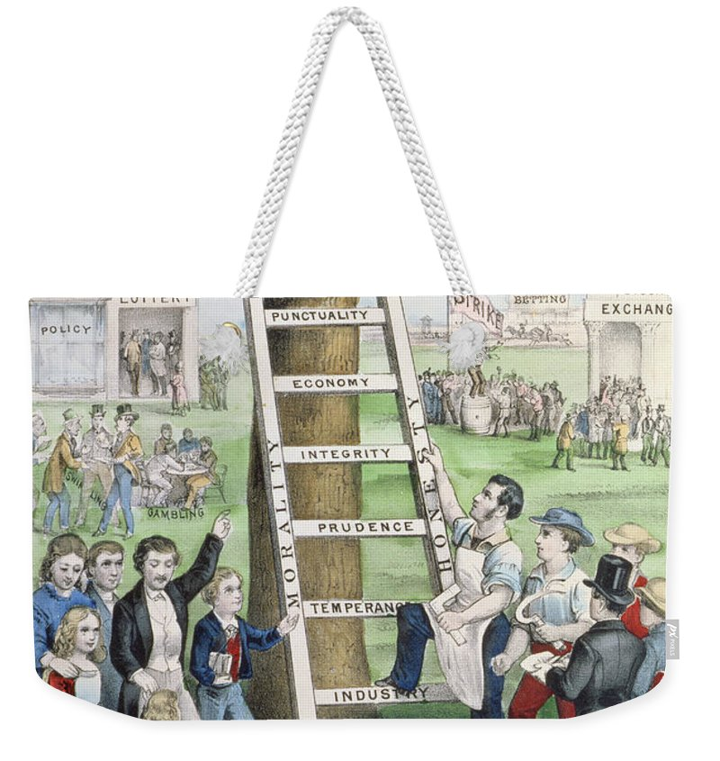 The Ladder Of Fortune Weekender Tote Bag featuring the painting The Ladder Of Fortune by Currier and Ives