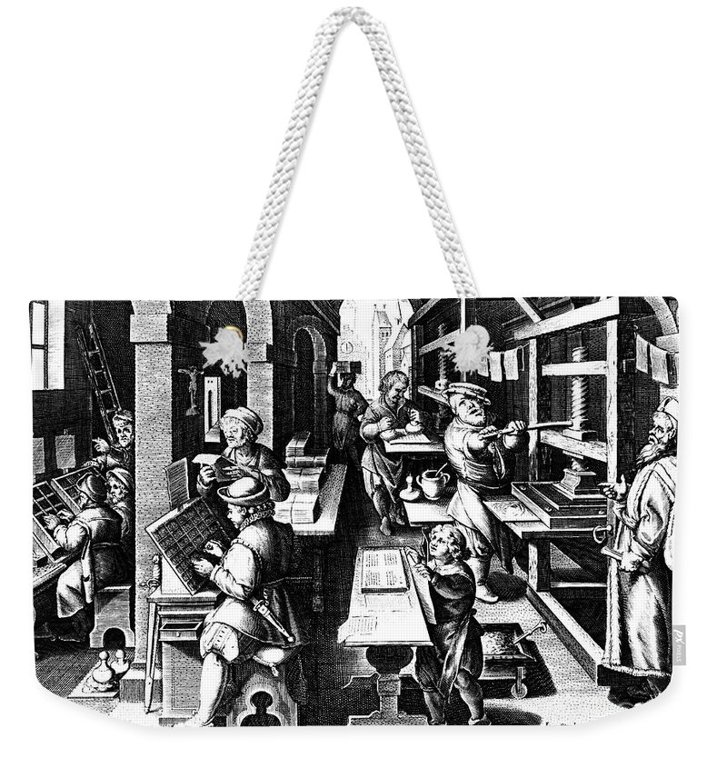16th Century Weekender Tote Bag featuring the photograph The Printing Of Books by Granger