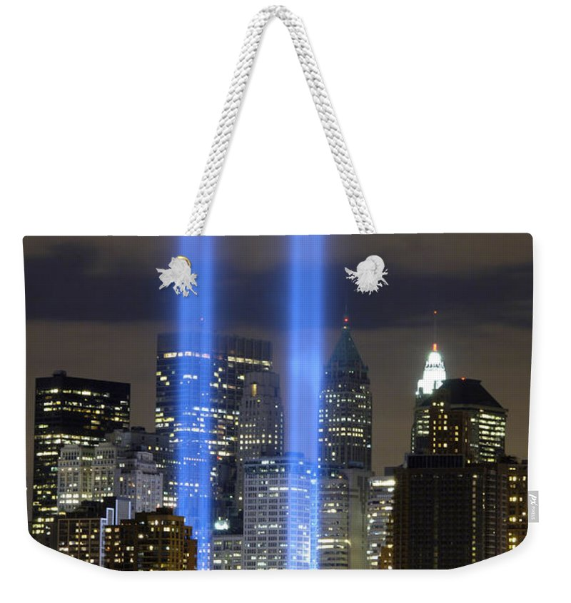 River Weekender Tote Bag featuring the photograph The Tribute In Light Memorial by Stocktrek Images