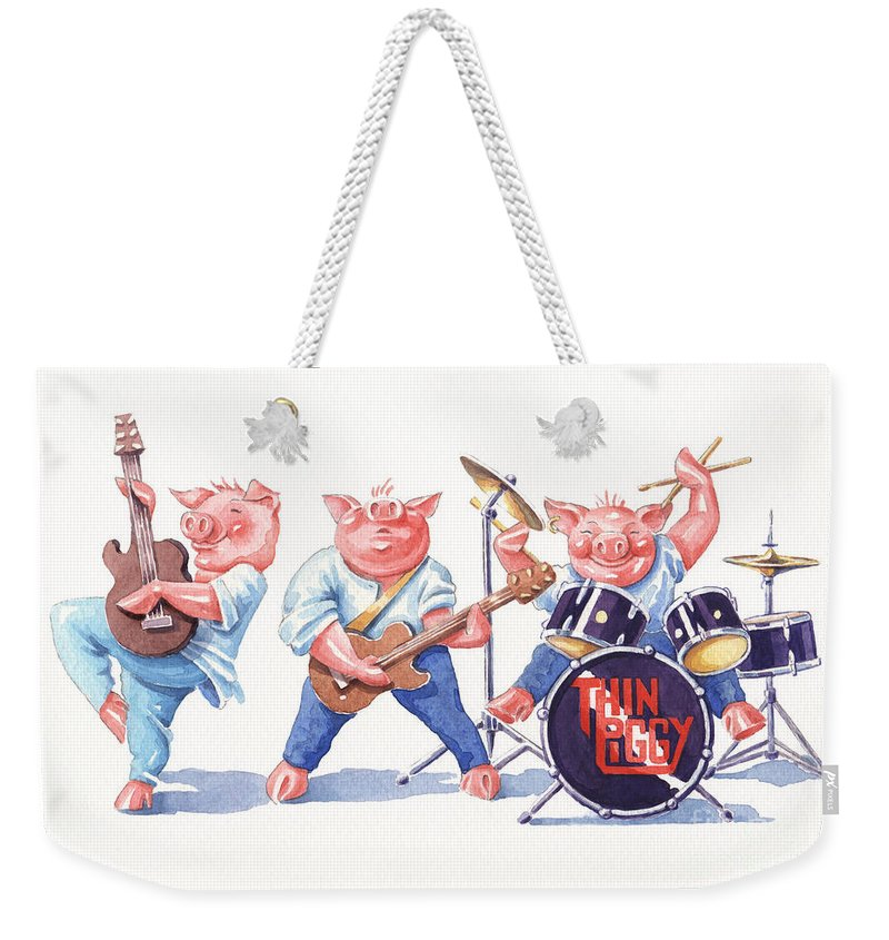 Piggies Band Thin Lizzy Drums Guitar Music Rock Pop Weekender Tote Bag featuring the painting Thin Piggy by Debbie Diamond