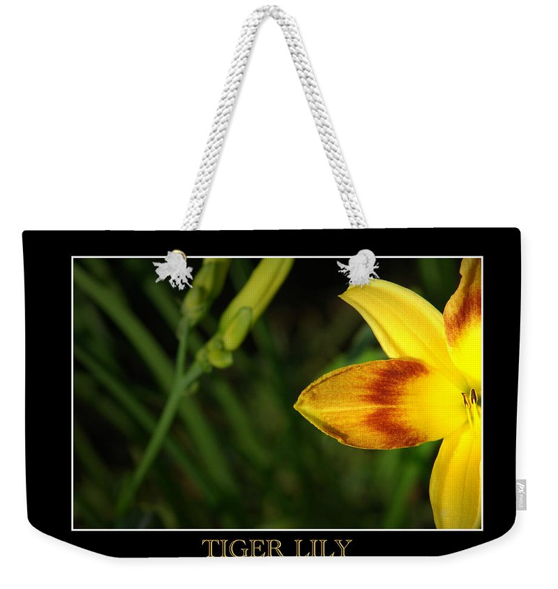 Flower Weekender Tote Bag featuring the photograph Tiger Lily by David Weeks