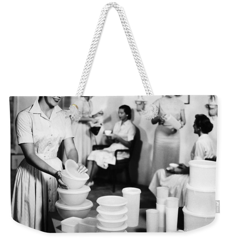 1950s Weekender Tote Bag featuring the photograph TUPPERWARE PARTY, 1950s by Granger