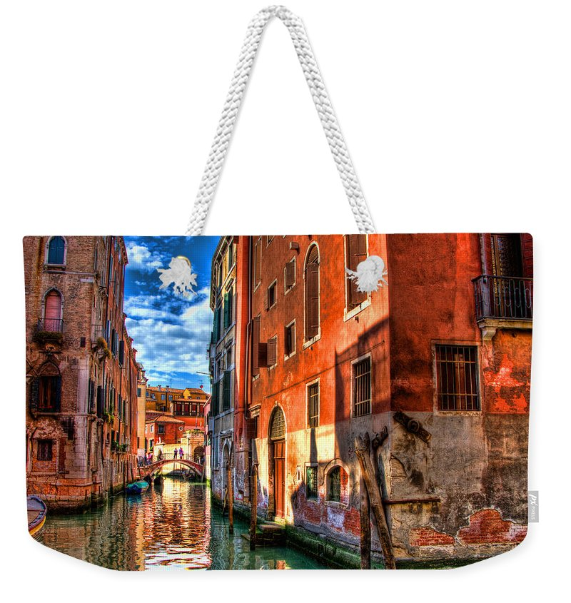 Venice Weekender Tote Bag featuring the photograph Venice Canal by Jon Berghoff