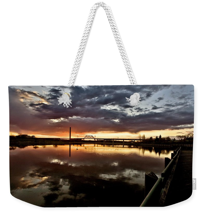 Reflection Weekender Tote Bag featuring the digital art Wakamaw Valley Sunrise by Mark Duffy