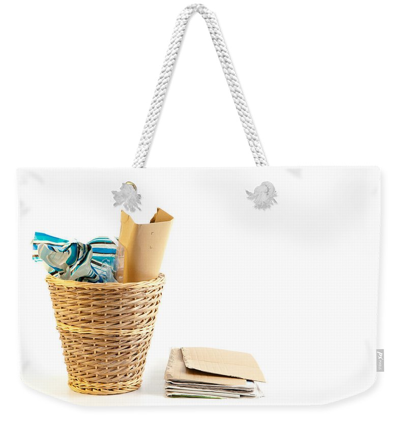 Basket Weekender Tote Bag featuring the photograph Waste Paper Bin by Tom Gowanlock