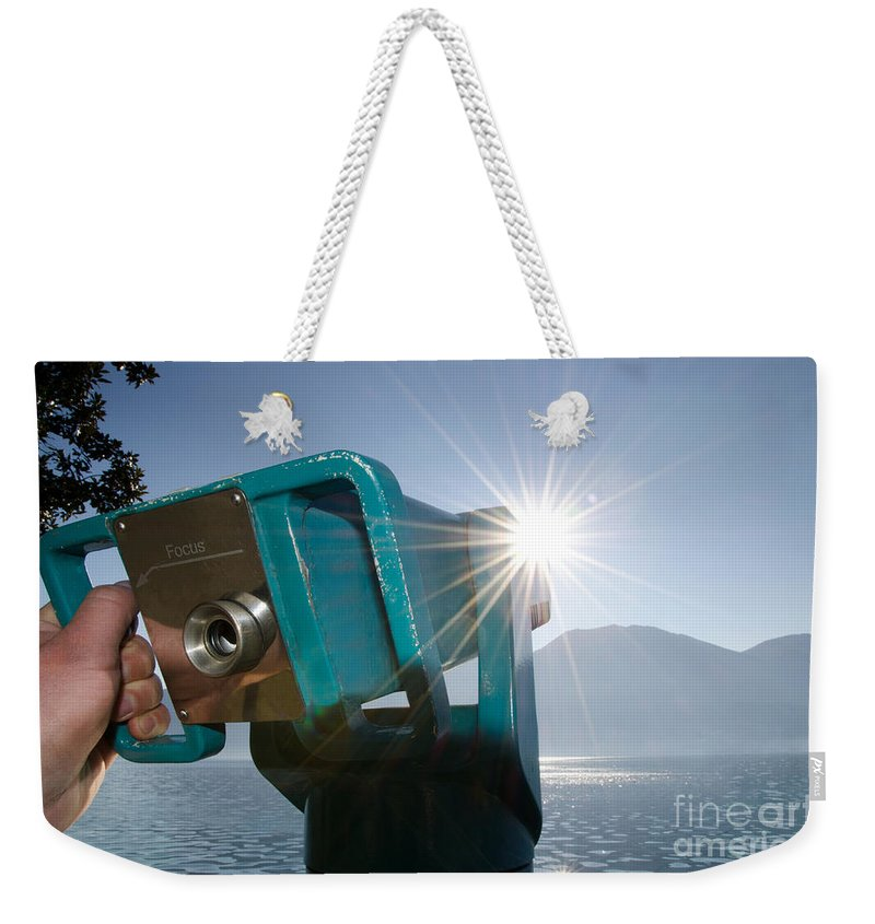 Telescope Weekender Tote Bag featuring the photograph Watching The Sun by Mats Silvan