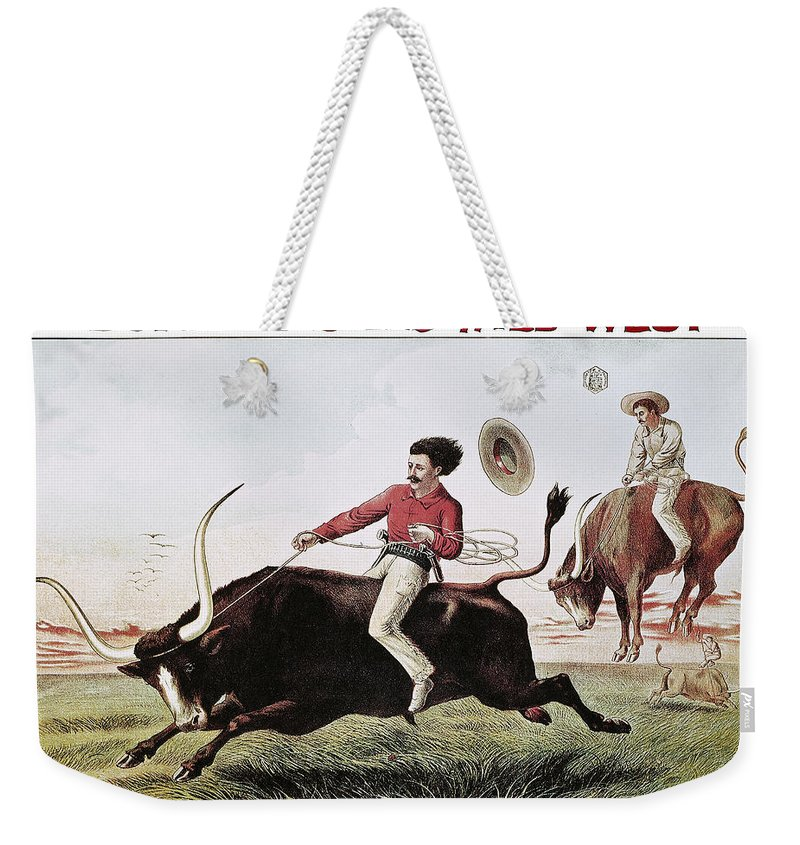 1885 Weekender Tote Bag featuring the photograph W.f. Cody Poster, C1885 by Granger