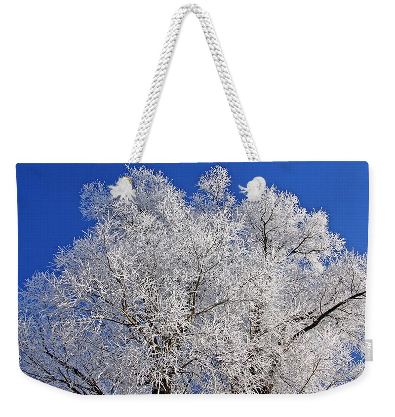 White Weekender Tote Bag featuring the photograph White Frost Tree by Ralf Kaiser
