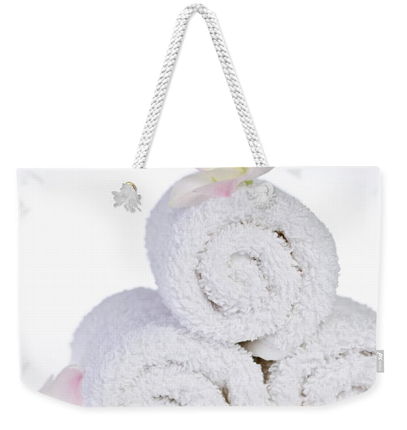 Towels Weekender Tote Bag featuring the photograph White Spa by Elena Elisseeva