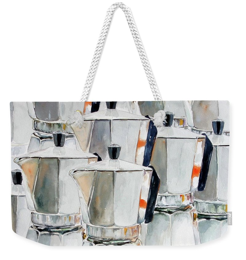 Still Life Weekender Tote Bag featuring the painting 11 Moka by Giovanni Marco Sassu