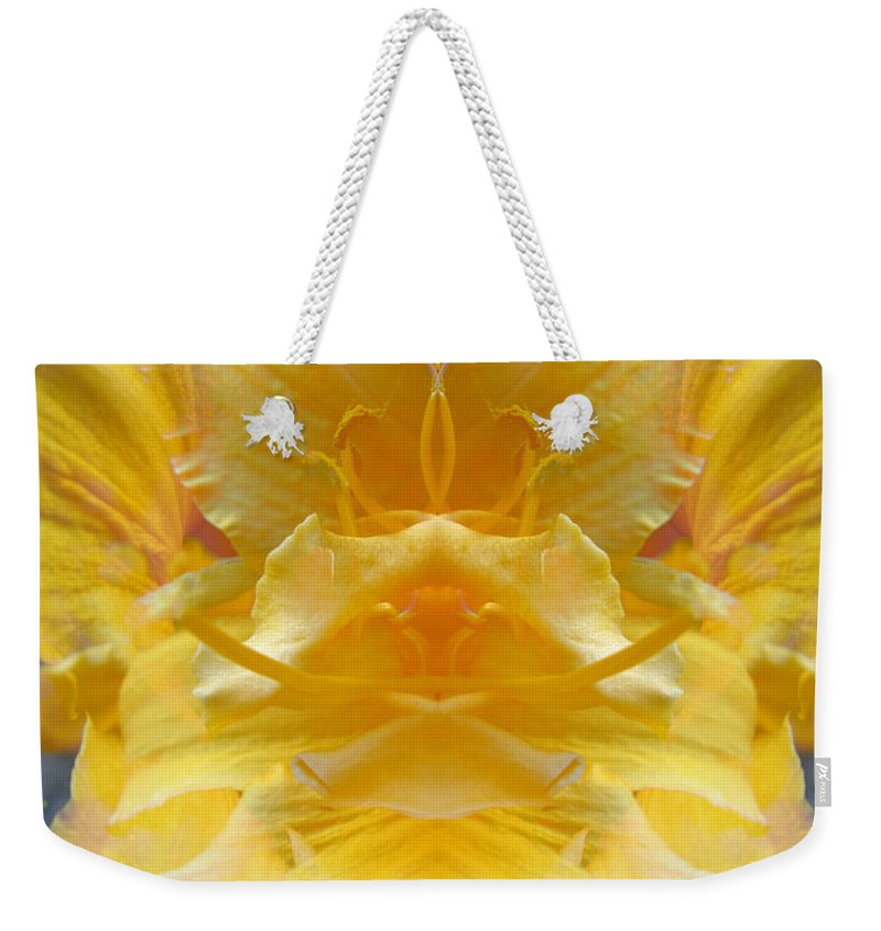 Color Blend Weekender Tote Bag featuring the digital art Yellow Lily by Michele Caporaso