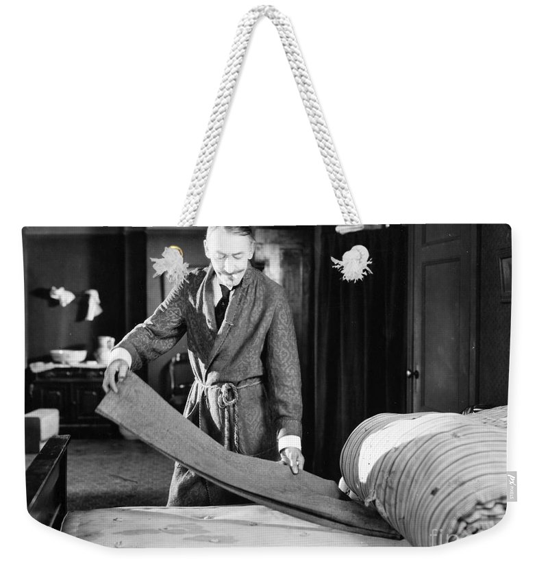 1920s Weekender Tote Bag featuring the photograph Silent Film Still by Granger