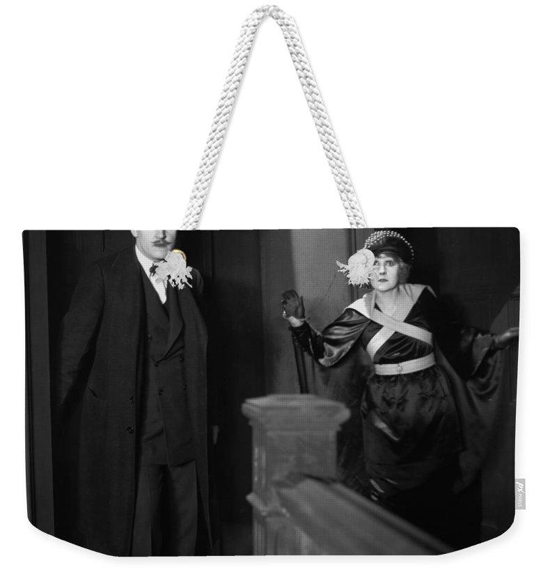 1920s Weekender Tote Bag featuring the photograph Silent Still: Man & Woman by Granger